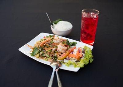 Spicy Kale Salad served with fresh Shrimps